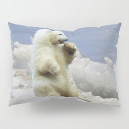 Cute Polar Bear Cub & Arctic Ice Pillow Sham
