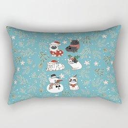 Christmas French Bulldog Rectangular Pillow