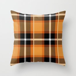 Orange + Black Plaid Throw Pillow