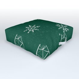 Merry Christmas Green Outdoor Floor Cushion