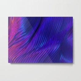 Neon landscape: Abstract wave #4 - purple & blue Metal Print