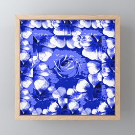 Roses Blue and White Toile #2 Framed Mini Art Print