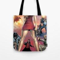 robin hood Tote Bags featuring Dracula vs. Robin Hood vs. Jekyll & Hyde by Eco Comics