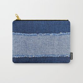 Destroyed torn denim blue jeans fabric frame on blue jeans background. Worn Jeans Casual Double Color patch Denim.  Carry-All Pouch