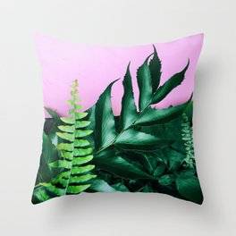 pink and foliage i Throw Pillow