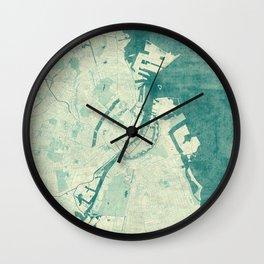 Copenhagen Map Blue Vintage Wall Clock