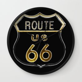 Route 66 American Road Sign Neon Wall Clock
