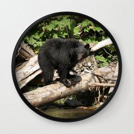 The Fisherman- Black Bear and Stream Wall Clock