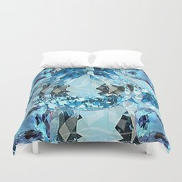 March Babies Blue Aquamarine Gems Abstract design. Duvet Cover