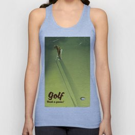 """Golf """"Book a game"""" vintage Poster Unisex Tank Top"""