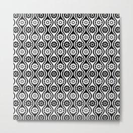 Black & White Daisy Wave / Mod Two Tone Floral Metal Print