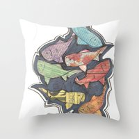 newspaper Throw Pillows featuring Newspaper Fish by Kate Allison