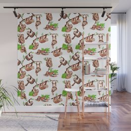 Sloth pattern Wall Mural