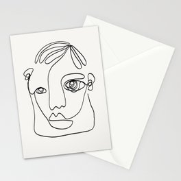 Vintage poster-Pablo Picasso-Linear drawings-Face. Stationery Cards