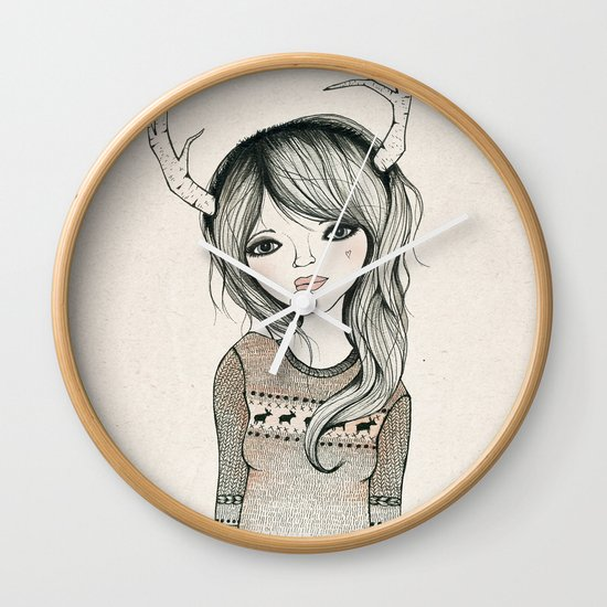 Antler Girl Wall Clock