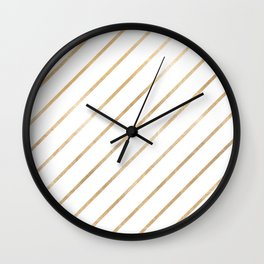 Geometrical blush chic white faux rose gold stripes Wall Clock