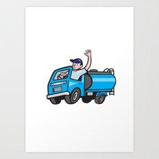 Baby Tanker Truck Driver Waving Cartoon Art Print