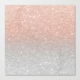 Modern trendy rose gold glitter ombre silver glitter Canvas Print