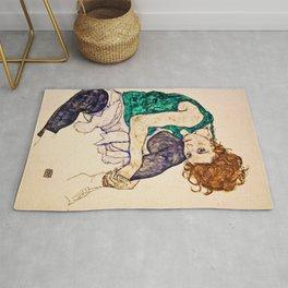 Egon Schiele - Sitting Woman with Legs Drawn Up Rug