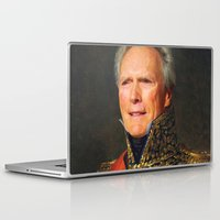 clint eastwood Laptop & iPad Skins featuring Clint Eastwood Old Canvas by Maioriz Home