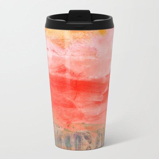 coral horizon Metal Travel Mug