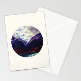 Mid Century Modern Round Photo Purple Parallax Mountains Meets Blue Valley Lake With Autumn Trees Stationery Cards