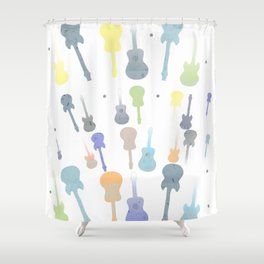 Pastel Guitar Pattern Shower Curtain
