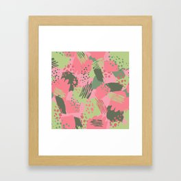 Pink & Green cool brush Framed Art Print