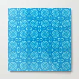 Blue Doily Floral Metal Print