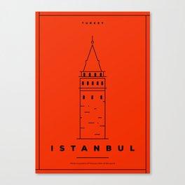 Minimal Istanbul City Poster Canvas Print
