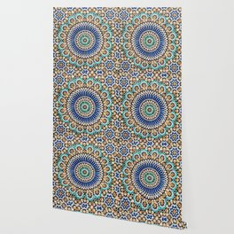 blue & gold moroccan tile Wallpaper