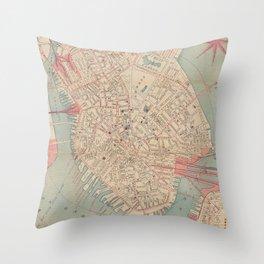 Vintage Map of Boston MA (1882) Throw Pillow