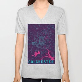 Colchester Neon City Map, Colchester Minimalist City Map Art Print Unisex V-Neck