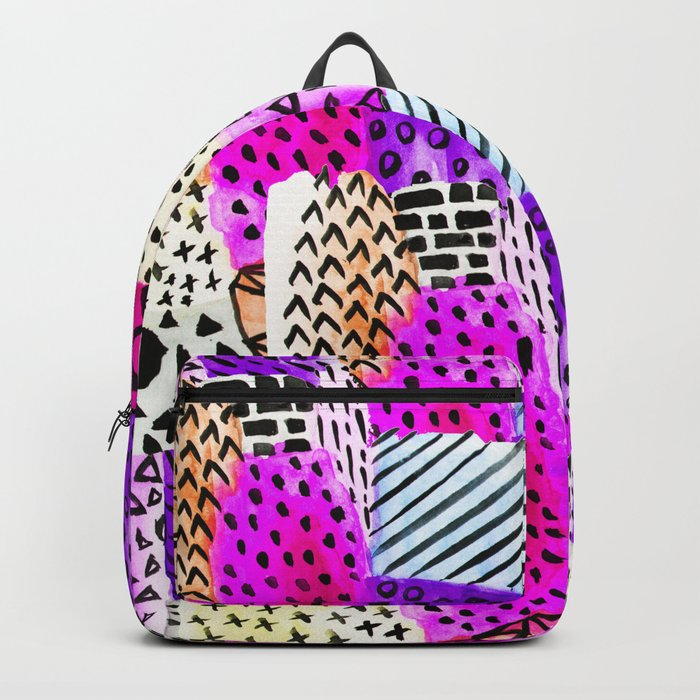 Modern pink watercolor abstract geometric hand painted pattern Backpack