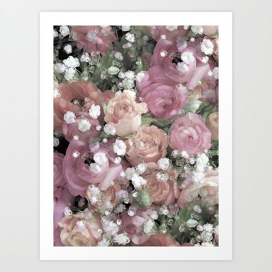 vintage pastel flowers Art Print