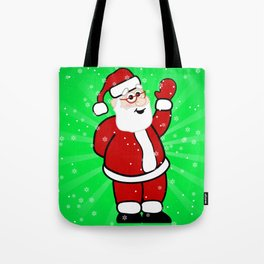 Christmas Santa in Red Suit Green Background Snow Tote Bag