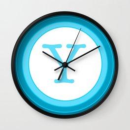 Blue letter Y Wall Clock