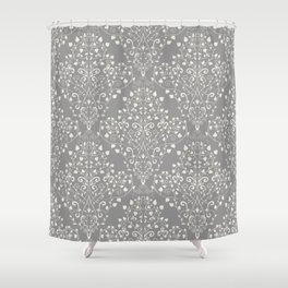 Art Nouveau Flourish Damask Pattern – Neutral Medium Gray Shower Curtain