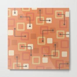 Midcentury 1950s Tiles & Squares Orange Metal Print