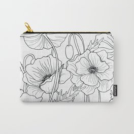 Poppies Line Drawing Carry-All Pouch