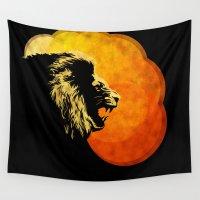 predator Wall Tapestries featuring NIGHT PREDATOR : lion silhouette illustration print by Sassan Filsoof