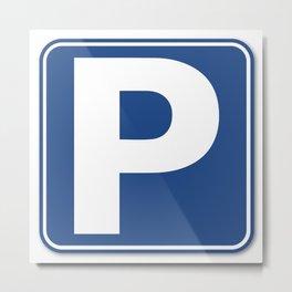 Blue Parking Sign Metal Print