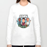 grand theft auto Long Sleeve T-shirts featuring Grand Theft Auto V Cartoon by Aaron Lecours