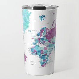 "Purple and turquoise watercolor world map with cities, ""Blair"" Travel Mug"