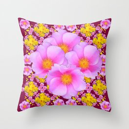 Pink & Yellow Burgundy Rose Flowers Art Throw Pillow