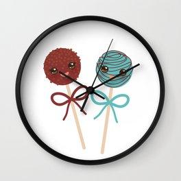 cute funny kawaii chocolate and blue Sweet Cake pops set with bow on white background Wall Clock