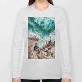 Aerial Ocean Print, Ocean Landscape, Beach Photography, Beach Print, Ocean Print, Ocean Water Long Sleeve T-shirt