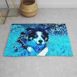 border collie jumping in water vector art crisp winter Rug