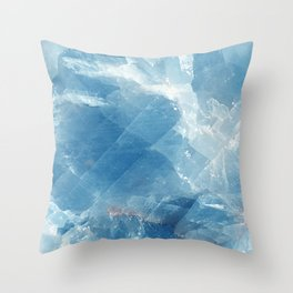 Blue marble calcite Throw Pillow