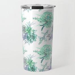 Succulents Mint Green Lavender Lilac Violet Pattern Travel Mug